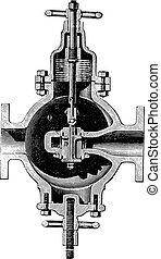 Faucet valve, vintage engraving.
