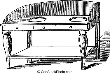Wash hand stand, vintage engraving.