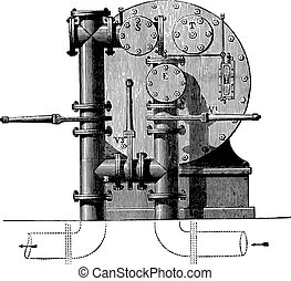 Meter factory seen from behind with three valves available for forming the bypass, vintage engraving.