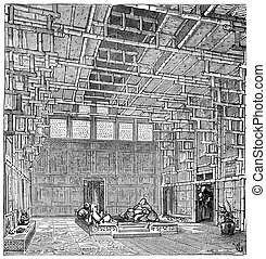 Inner chamber of a bamboo house, China, vintage engraving -...