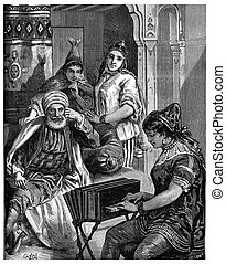 Saturday night in a Jewish family in Tunis, vintage engraving.