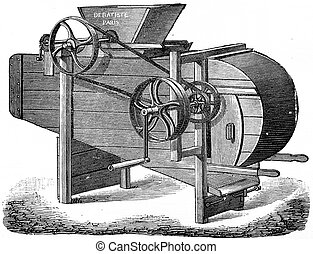 Machine crushing and winnowing cocoa, vintage engraving. -...