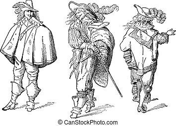 French gentlemen after Abraham Bosse seventeenth century,...