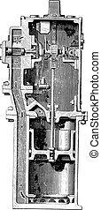 Water meter, Samain system, vintage engraving - Water meter,...