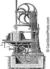 Bandsaw, vintage engraving.