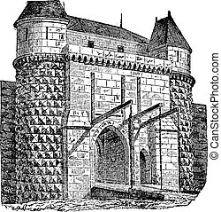 Fortified gate with drawbridges, vintage engraving -...