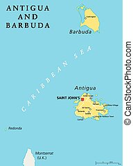 Saint Lucia Political Map with capital Castries and...