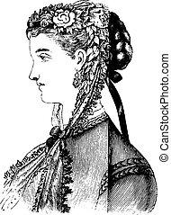 Black lace bonnet, vintage engraving - Black lace bonnet,...