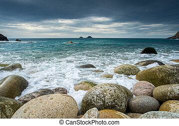 Porth Nanven Cot Valley Cornwall - Boulder covered beach at...