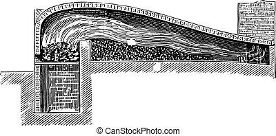 Swansea roaster, vintage engraving. - Swansea roaster,...