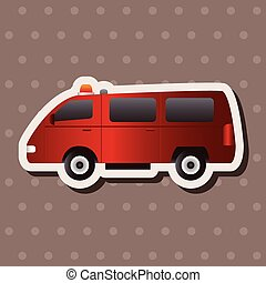 transportation theme firetruck elements vector,eps