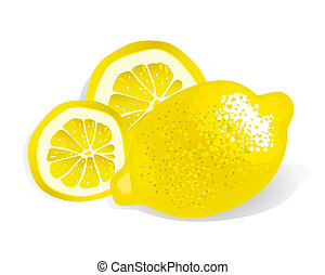 Lemon vector - Yellow Lemon With Slices vector