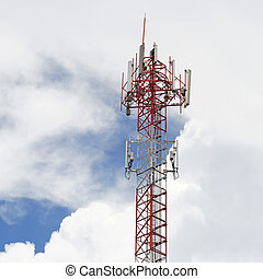 telecommunication tower with sky background -...
