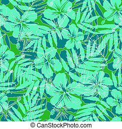 Green tropical flowers silhouettes seamless pattern