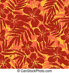 Red and orange tropical flowers silhouettes seamless pattern