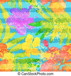 Bright vivid colors watercolor tropical flowers seamless...