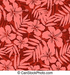 Red tropical flowers silhouettes seamless pattern