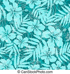 Blue tropical flowers silhouettes seamless pattern