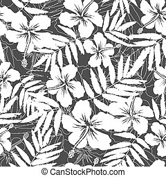 White and gray tropical flowers silhouettes seamless pattern