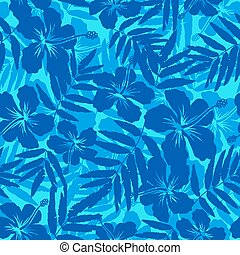 Blue tropical flowers silhouettes seamless pattern - Blue...