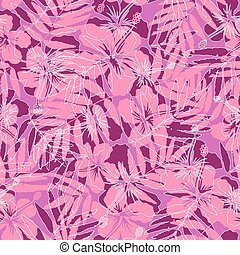 Pink tropical flowers silhouettes seamless pattern