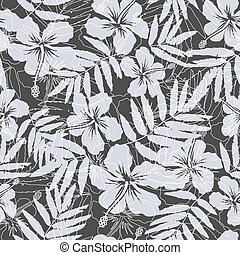 Black and gray tropical flowers silhouettes seamless pattern