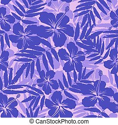 Purple tropical flowers silhouettes seamless pattern