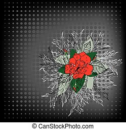 Grunge backdrop with a red rose