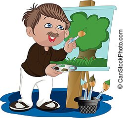 Vector of artist painting on canvas.