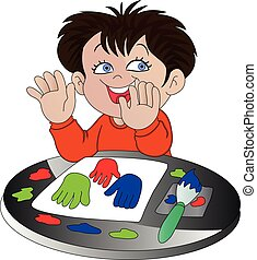 Vector of boy finger painting.
