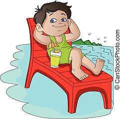 Vector of boy relaxing on deckchair at beach.