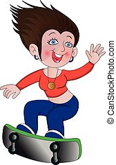 Vector of woman on skateboard.