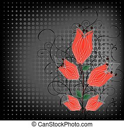 Grunge backdrop with a red flowers