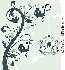 Blue swirly invitation card with cage