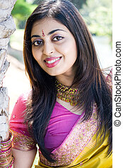 indian lady - a pretty indian lady smiling