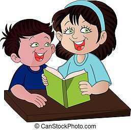 Vector of mother helping her son with studies.