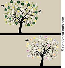 set of abstract tree silhouettes, symbols of nature