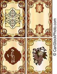 set of four vintage card