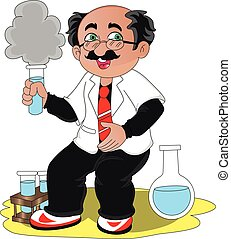 Vector of scientist experimenting with chemicals.
