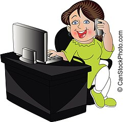 Vector of woman using cell phone and computer.