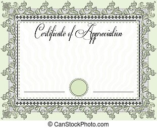 Vintage certificate of appreciation with ornate elegant...