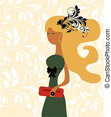 Fashion lady in green dress clothing with dots and red purse...
