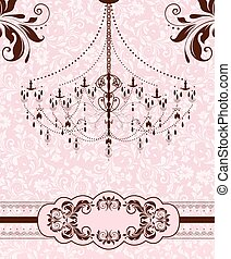 Vintage invitation card with ornate elegant abstract floral...