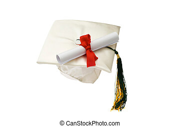 Graduation cap and diploma isolated on white