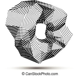 Spatial vector monochrome object isolated, 3d technology...