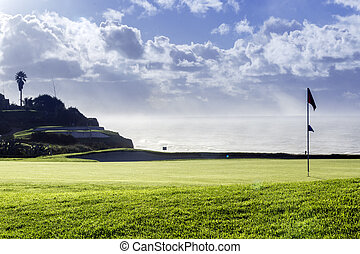Algarve golf course seascape scenery, famous golf and nature...