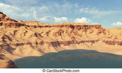 Canyon lake among red rocks daytime - Panoramic view of a...