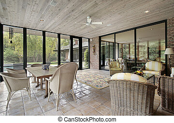 Porch with wood ceiling - Porch in luxury home with wood...