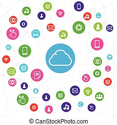 Cloud computer connection, network system concept on white background vector illustration