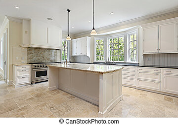 Kitchen with granite island - Kitchen in new construction...